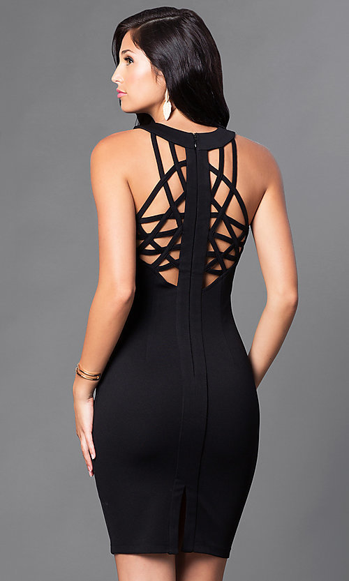 Image of short black homecoming dress with back cut outs. Style: AC-DX22076B Front Image