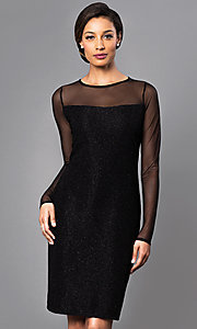 Knee-Length Party Dress with Sheer Long Sleeves