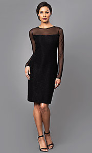 Image of knee-length party dress with sheer long sleeves. Style: JU-MA-262836 Detail Image 1