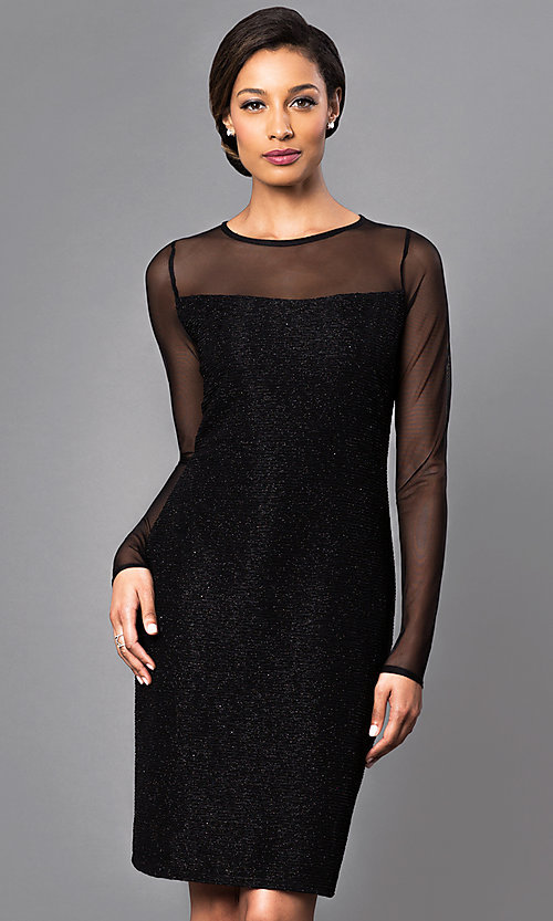 Image of knee-length party dress with sheer long sleeves. Style: JU-MA-262836 Front Image
