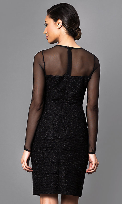 Image of knee-length party dress with sheer long sleeves. Style: JU-MA-262836 Back Image