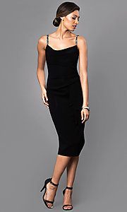 Image of sleeveless midi party dress with embellished straps. Style: JU-MA-262946 Detail Image 1
