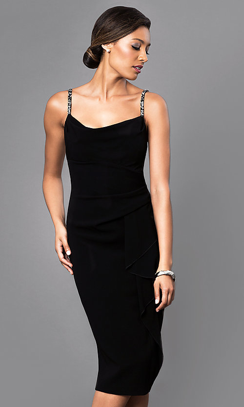 Image of sleeveless midi party dress with embellished straps. Style: JU-MA-262946 Front Image