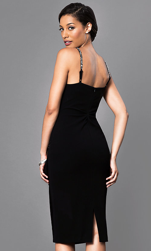 Image of sleeveless midi party dress with embellished straps. Style: JU-MA-262946 Back Image