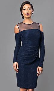 Navy Blue Glitter Knee Length Dress with Cold Shoulders