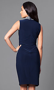 Image of knee-length jeweled high-neck ruched party dress. Style: JU-MA-263001 Back Image
