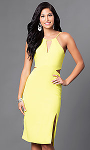 Image of knee-length spaghetti-strap party dress with cutouts. Style: AC-DE22088B Detail Image 2