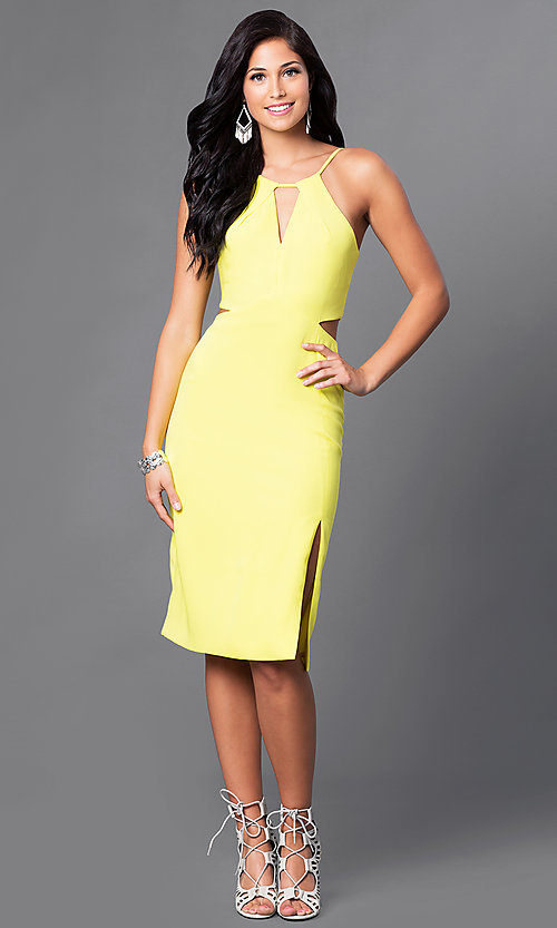Image of knee-length spaghetti-strap party dress with cutouts. Style: AC-DE22088B Detail Image 3