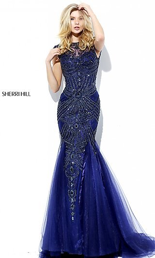 Beaded Long Cap Sleeve Sherri Hill Formal Dress