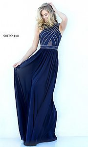 Image of high-neck formal evening dress by Sherri Hill. Style: SH-50759 Front Image