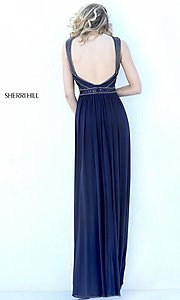 Image of high-neck formal evening dress by Sherri Hill. Style: SH-50759 Back Image