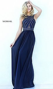 Image of high-neck formal evening dress by Sherri Hill. Style: SH-50759 Detail Image 1