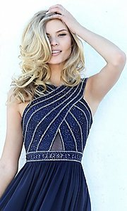 Image of high-neck formal evening dress by Sherri Hill. Style: SH-50759 Detail Image 2