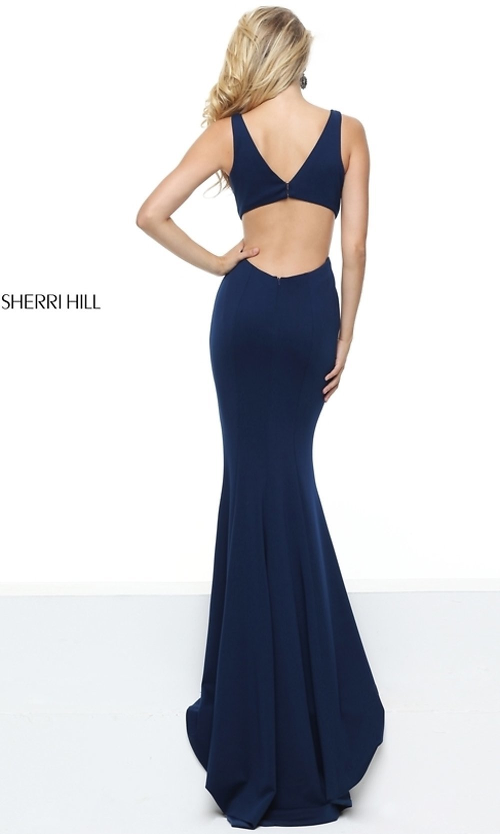 Blue Sherri Hill Long Open Back Prom Dress Promgirl