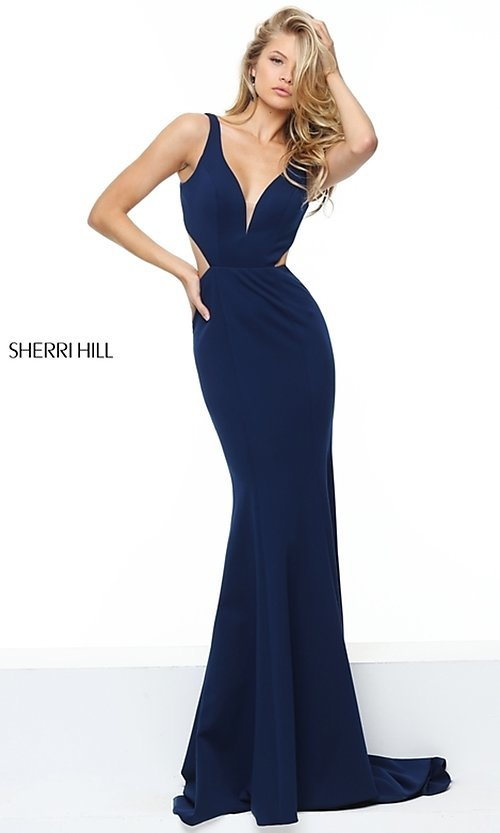 Blue Sherri Hill Long Open-Back Prom Dress - PromGirl