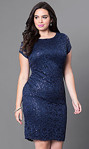 Short Sleeve Lace Plus Size Homecoming Dress