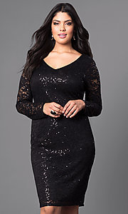 Lace Knee-Length Plus-Size Dress with Long Sleeves