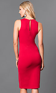 Image of knee-length jersey sheath dress. Style: MD-D14700ADK Back Image