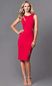 Image of knee-length jersey sheath dress. Style: MD-D14700ADK Detail Image 1
