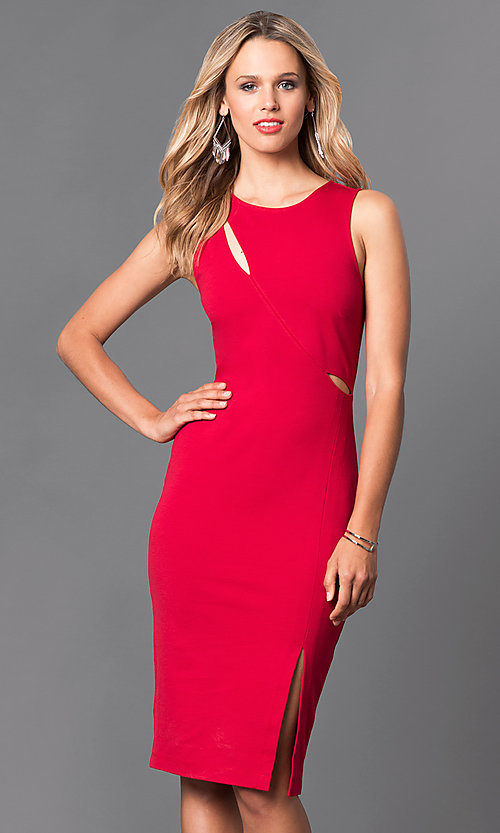 Image of knee-length jersey sheath dress. Style: MD-D14700ADK Front Image
