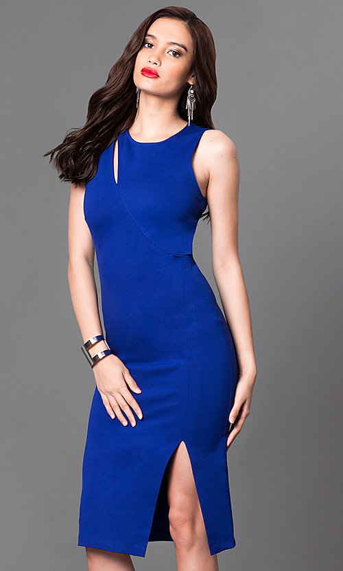 Image of knee-length jersey sheath dress. Style: MD-D14700ADK Detail Image 2