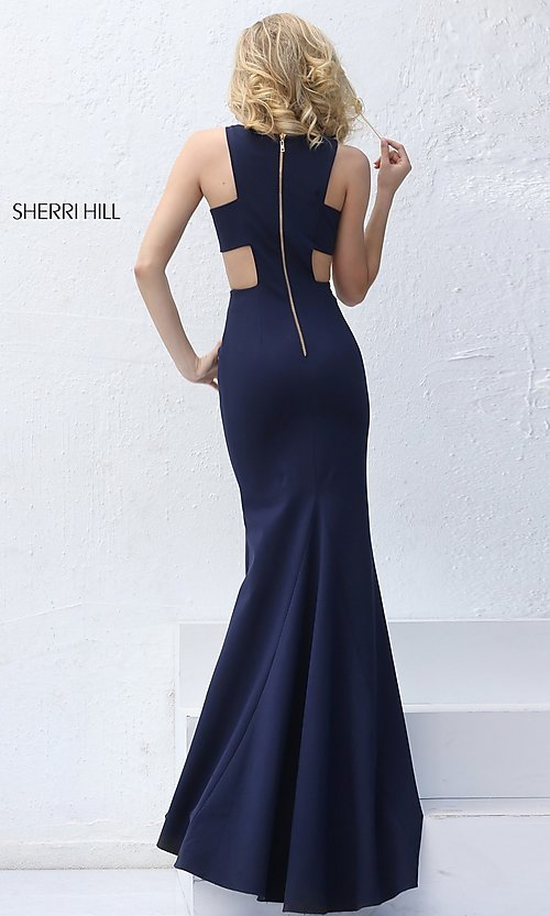 Image of long prom dress with side cut outs by Sherri Hill. Style: SH-50741 Back Image