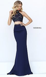 High Neck Two Piece Prom Dress