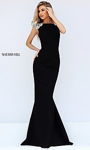 High Neck Long Formal Dress with Cap Sleeves