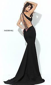 Long Sherri Hill Formal Prom Dress with Open Back