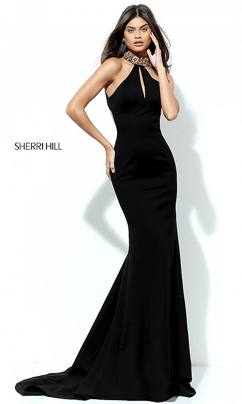 Image of long Sherri Hill formal prom dress with open back. Style: SH-50594 Back Image