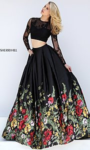 Black Print Two Piece Formal Dress with Sleeves
