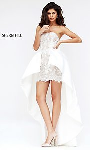High Low Strapless Lace Dress