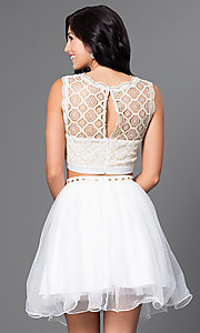 Image of lace-top short two-piece ivory homecoming dress. Style: JOJ-JJ65006 Back Image