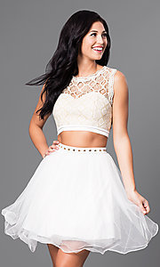 Lace-Top Short Two-Piece Ivory Homecoming Dress