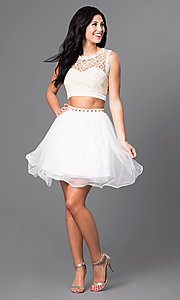 Image of lace-top short two-piece ivory homecoming dress. Style: JOJ-JJ65006 Detail Image 2