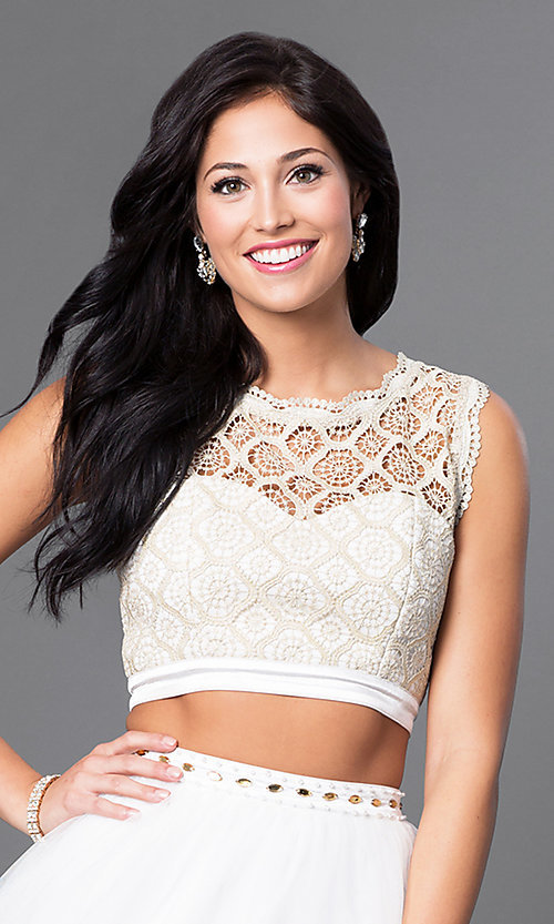 Image of lace-top short two-piece ivory homecoming dress. Style: JOJ-JJ65006 Detail Image 1