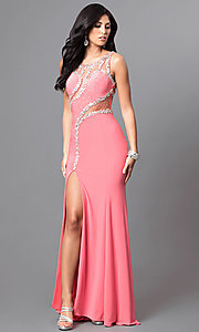 Image of long formal jewel-embellished coral pink prom dress. Style: DQ-9543 Front Image