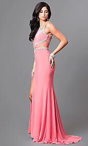Image of long formal jewel-embellished coral pink prom dress. Style: DQ-9543 Detail Image 1