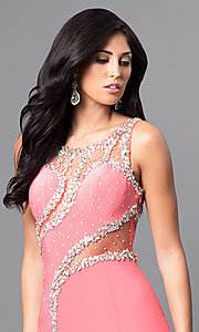Image of long formal jewel-embellished coral pink prom dress. Style: DQ-9543 Detail Image 2