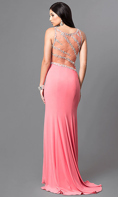 Image of long formal jewel-embellished coral pink prom dress. Style: DQ-9543 Back Image