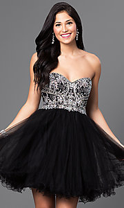 Image of short embellished strapless corset dress. Style: DQ-9536 Detail Image 1