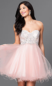 Short Embellished Strapless Corset Dress