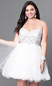 Image of short embellished strapless corset dress. Style: DQ-9536 Detail Image 3