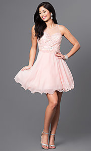 Image of short homecoming party dress with illusion bodice. Style: DQ-9544 Detail Image 1