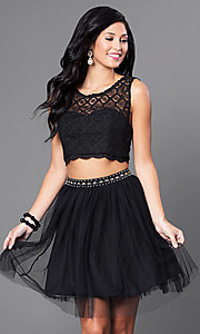 Image of black two-piece lace-top homecoming dress. Style: JOJ-JJ65007 Front Image