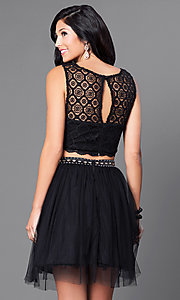 Image of black two-piece lace-top homecoming dress. Style: JOJ-JJ65007 Back Image