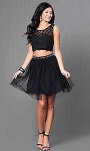 Image of black two-piece lace-top homecoming dress. Style: JOJ-JJ65007 Detail Image 1