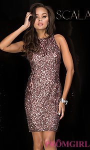 Image of sleeveless sequin homecoming dress with high neck. Style: Scala-48638 Detail Image 2