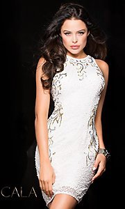 Sleeveless Sequin Homecoming Dress with High Neck