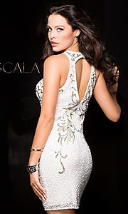 Image of sleeveless sequin homecoming dress with high neck. Style: Scala-48638 Back Image